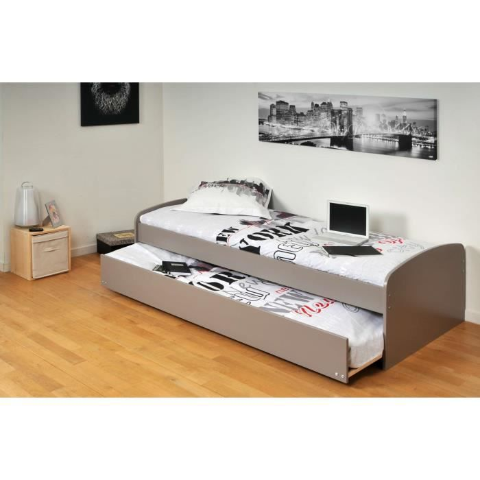 romain lit gigogne enfant 90x190cm finition gris achat vente lit gigogne romain lit gigogne. Black Bedroom Furniture Sets. Home Design Ideas