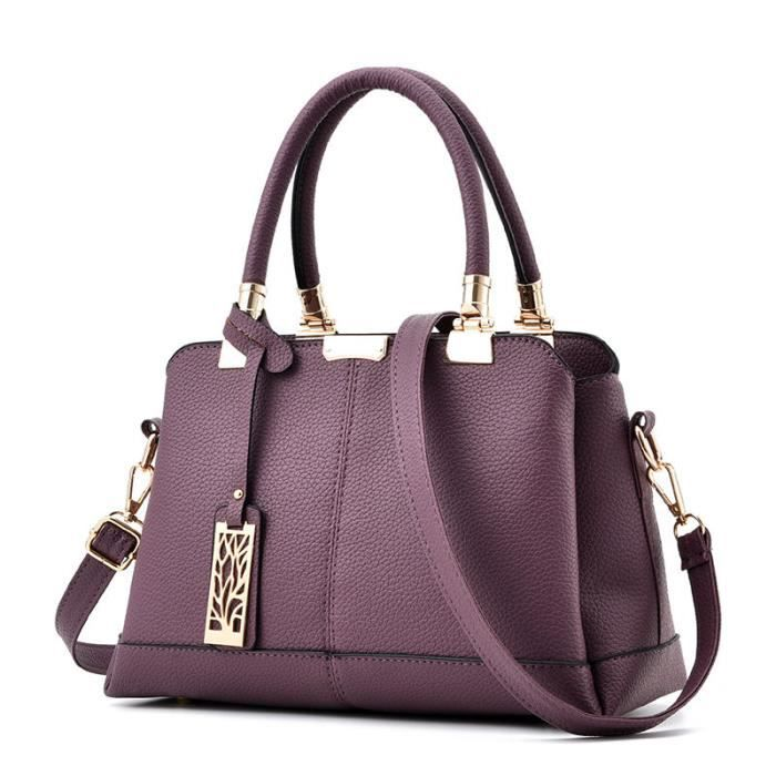 sac main femme de marque luxe cuir 2017 nouvelle mode sac bandouliere sac cuir violet femme. Black Bedroom Furniture Sets. Home Design Ideas