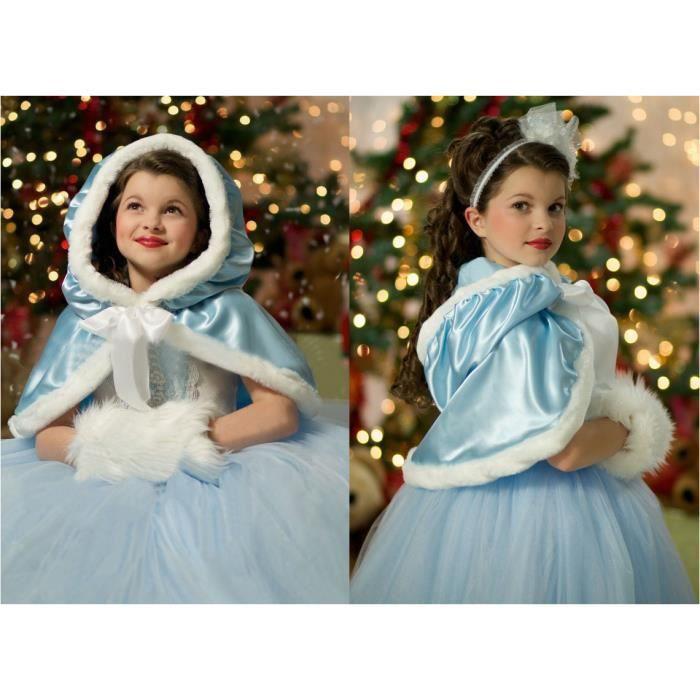 demarkt frozen reine des neiges robe avec cape d guisement pour enfant fille blue taille 140. Black Bedroom Furniture Sets. Home Design Ideas