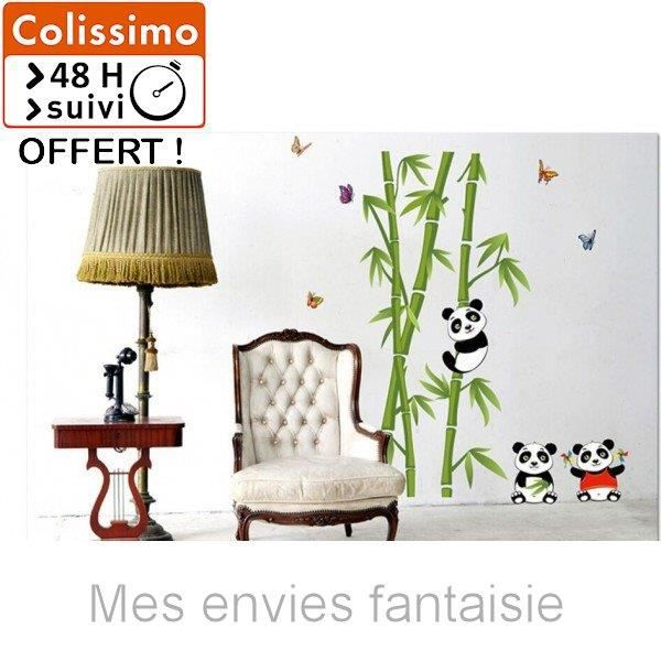 sticker mural petits pandas et bambous vert mes envies fantaisie achat vente stickers. Black Bedroom Furniture Sets. Home Design Ideas