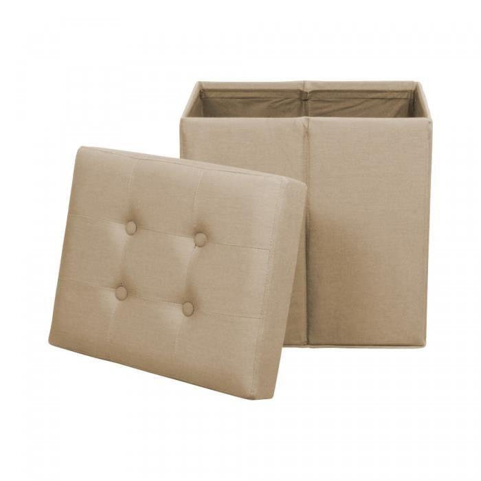 pouf de rangement pliant en lin capitonne beige versailles achat vente pouf poire cdiscount. Black Bedroom Furniture Sets. Home Design Ideas