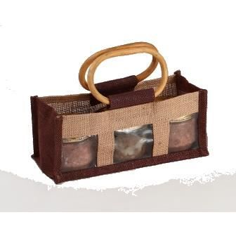 sac en toile de jute marron et naturel fen 234 tre pvc transparente 3 compartiments grandes