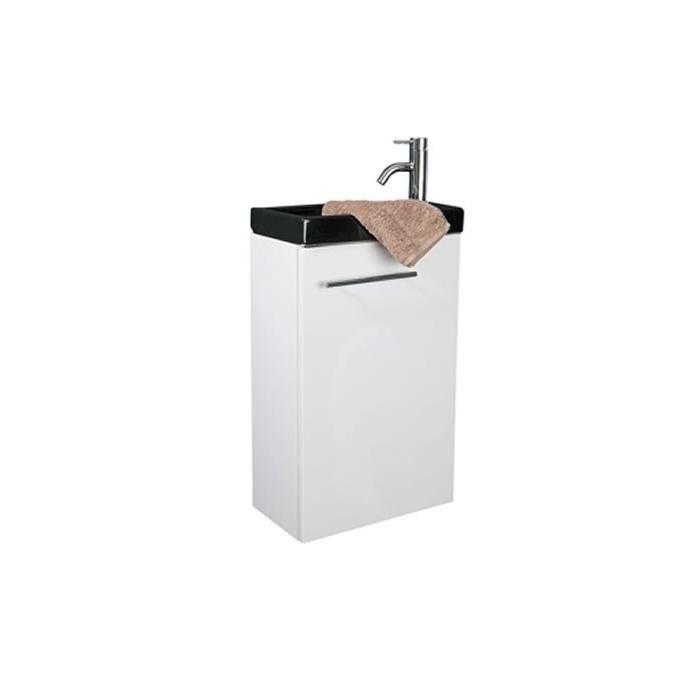 Lave mains meuble blanc lavabo en c ramique noir for Meuble lavabo noir
