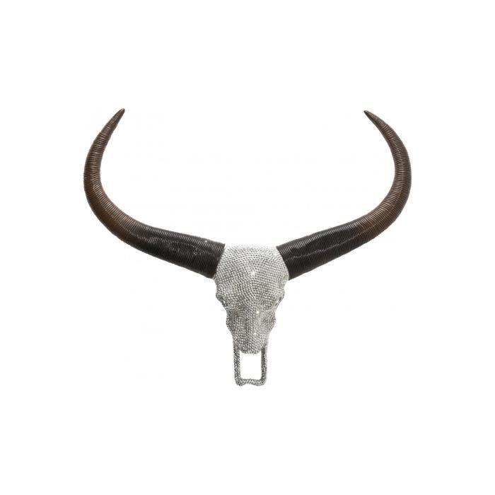 T te de taureau d co strass achat vente statue for Decoration murale tete de taureau