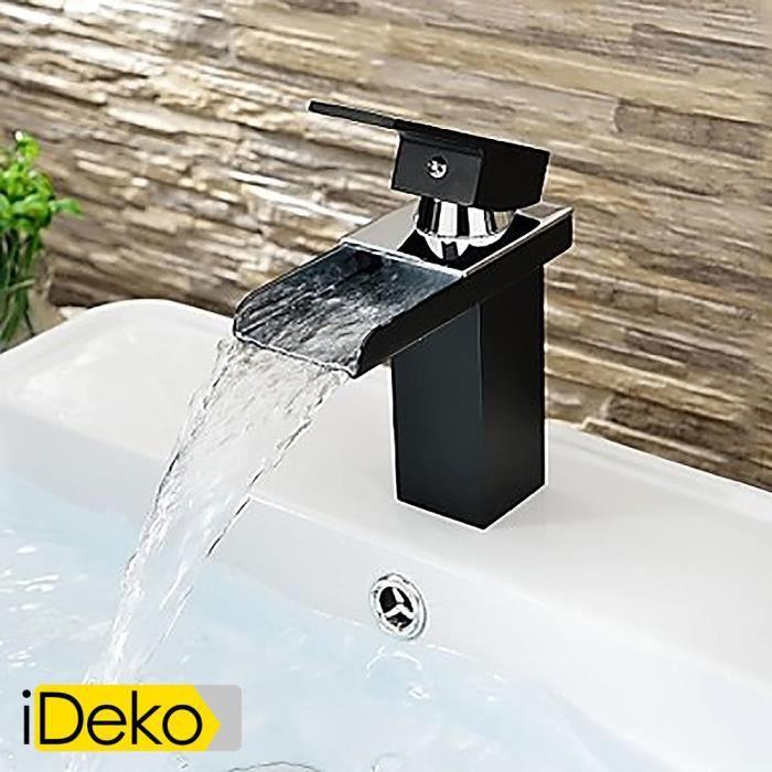ideko robinet mitigeur de lavabo laiton salle de bains peinture noire contemporaine un trou. Black Bedroom Furniture Sets. Home Design Ideas