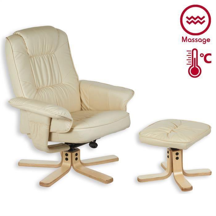 Fauteuil de relaxation massant comfort beige achat vente fauteuil beige - Fauteuil de relaxation massant ...