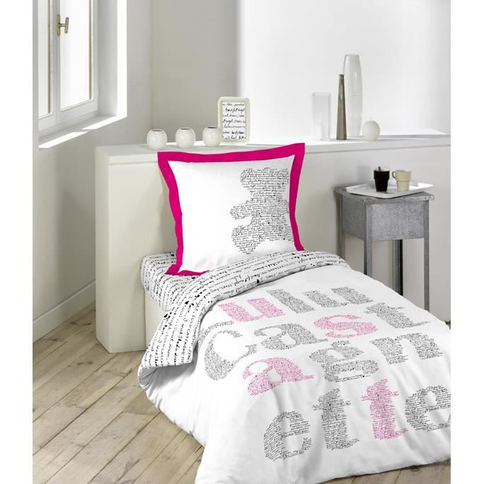 parure de couette 140x200 lulu manuscrit achat vente parure de couette cdiscount. Black Bedroom Furniture Sets. Home Design Ideas