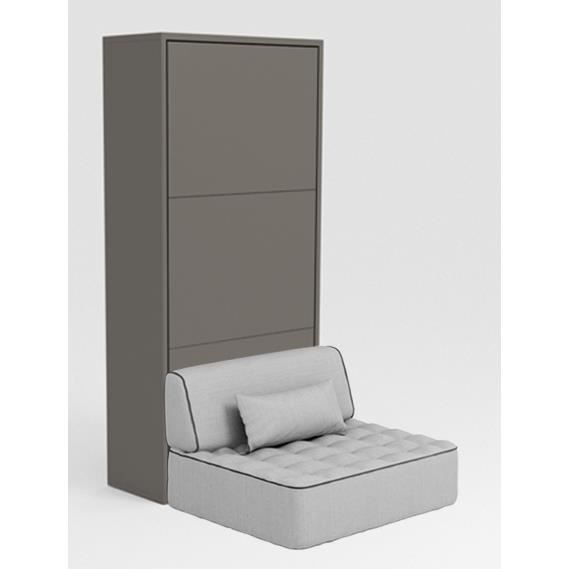 Armoire lit escamotable stone 90x200 gris canap achat for Canape 90x200
