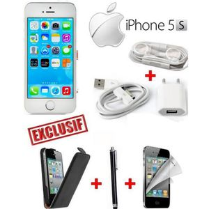 SMARTPHONE APPLE IPHONE 5S SILVER + ETUI + FILM + STYLET