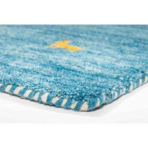 gabbeh loom parwis tapis de couloir 80 x 200 cm laine vierge bleu achat vente tapis cdiscount. Black Bedroom Furniture Sets. Home Design Ideas