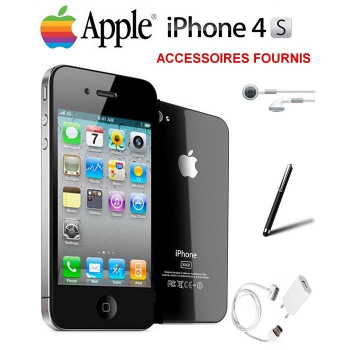 pack v i p apple iphone 4s noir 16go debloque achat. Black Bedroom Furniture Sets. Home Design Ideas