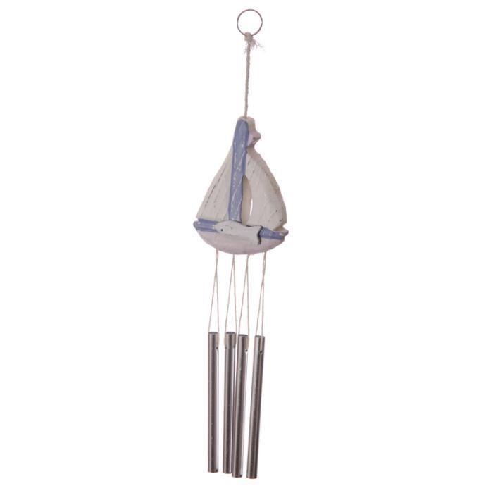 carillon vent voilier en bois d coration d ext rieur ambiance marine bord de mer longueur 40cm. Black Bedroom Furniture Sets. Home Design Ideas