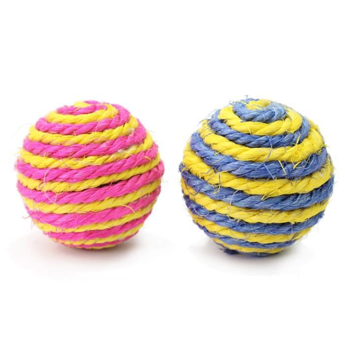 2 jeu jouets sisal corde boule balle pour chien chat. Black Bedroom Furniture Sets. Home Design Ideas