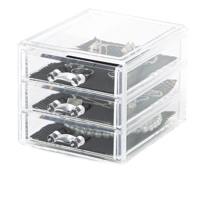 range bijoux 3 tiroirs achat vente boite a bijoux cdiscount. Black Bedroom Furniture Sets. Home Design Ideas