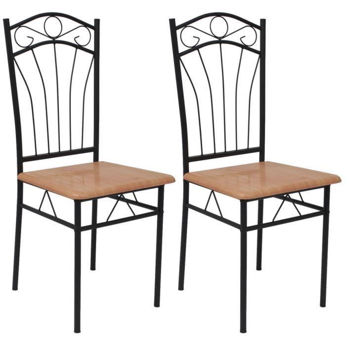 Vidaxl chaises de salle manger 2 pcs marron achat for Chaises salle a manger marron