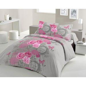 housse de couette rose et gris achat vente housse de couette rose et gris pas cher cdiscount. Black Bedroom Furniture Sets. Home Design Ideas