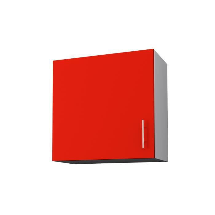 Start meuble haut de cuisine 1 porte 60 cm rouge mat for Porte 60 cm de large