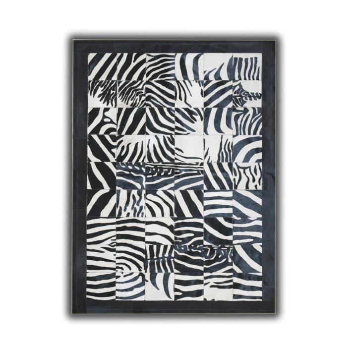 Allotapis tapis imprim z bre sur peau de vache noir et blanc torrent 120x180cm z bre - Tapis peau de zebre ...