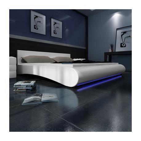 Lit en pu avec t te de lit led 180 200 cm blanc stylashop achat vente l - Tete de lit eclairage led ...