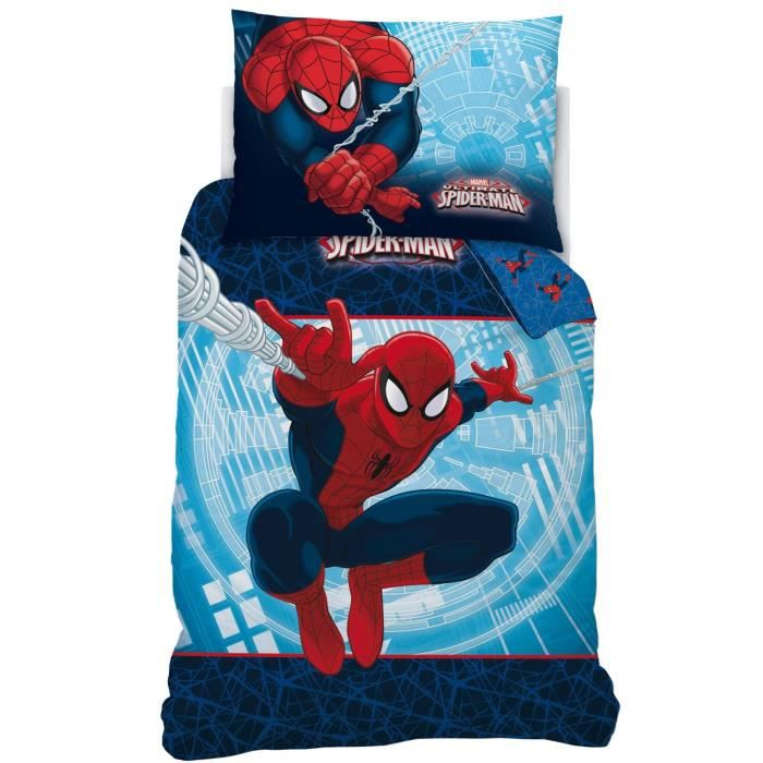 linge de lit parure de drap spiderman action 04262 achat. Black Bedroom Furniture Sets. Home Design Ideas