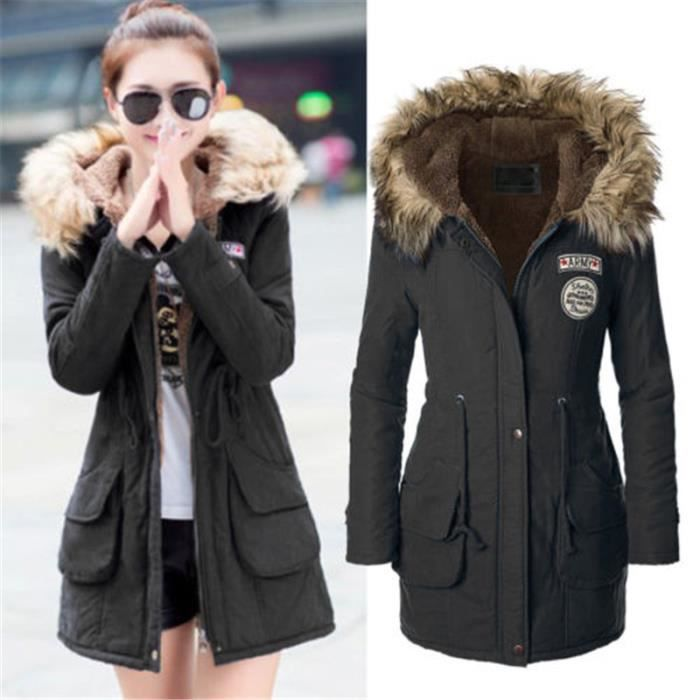 manteau femme parka longue capuche doubl e faus black. Black Bedroom Furniture Sets. Home Design Ideas
