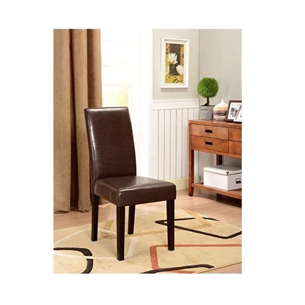 Lot de 2 chaises de salle manger deluxe en simili cuir for Lot de 8 chaise de salle a manger