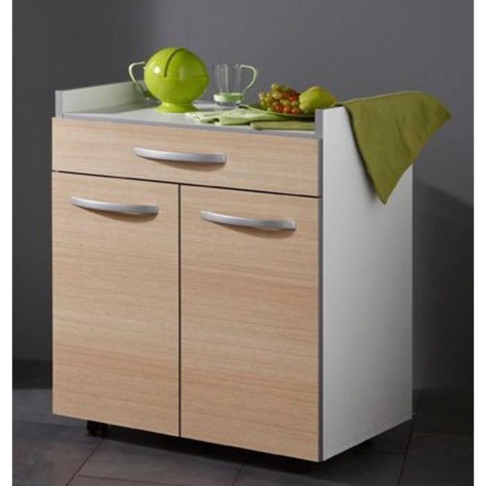Desserte de cuisine coloris blanc et ch ne avec 2 portes for Desserte de cuisine avec tiroir
