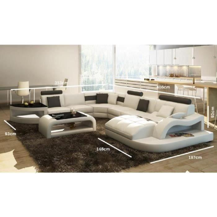 canap d 39 angle design panoramique blanc et noir istanbul droit achat vente canap sofa. Black Bedroom Furniture Sets. Home Design Ideas