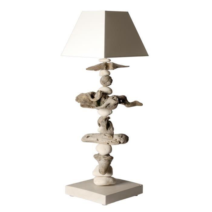 Lampe galets et bois flott blanc cass achat vente for Lampe bois flotte maison