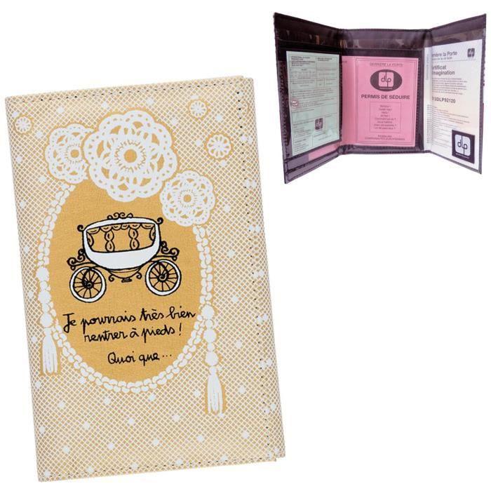 porte papiers de voiture banquier or pochette rangement permis assurance id e cadeau pour femme. Black Bedroom Furniture Sets. Home Design Ideas