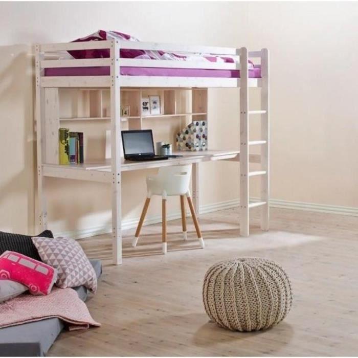 lit mezzanine flexa avec bureau et tag res en achat. Black Bedroom Furniture Sets. Home Design Ideas