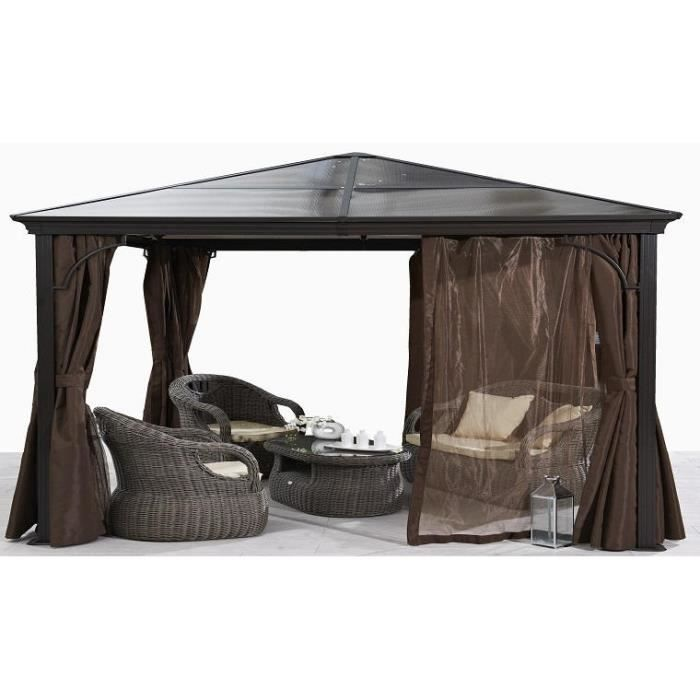 pergola de jardin toit fixe avec rideaux amovibles chocolat achat vente tonnelle barnum. Black Bedroom Furniture Sets. Home Design Ideas