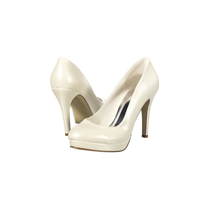 escarpin chaussure femme talon compens - Chaussures Compenses Blanches Mariage