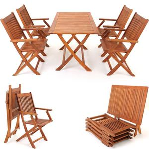 SALON DE JARDIN  Ensemble 1 table 4 chaises Sidney en bois d'Acacia
