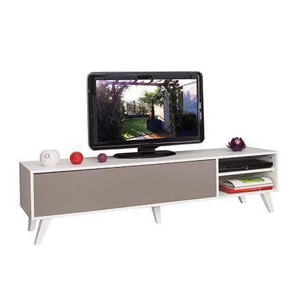Meuble tv pieds inclin s 1 abattant blanc taupe achat for Finlandek meuble tv mural katso 160 cm coloris blanc et noir