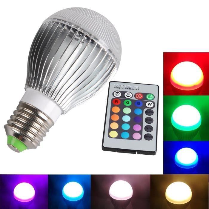e27 10w rgb ampoule lampe led multi changement de couleur 220v avec ir t l commande achat. Black Bedroom Furniture Sets. Home Design Ideas
