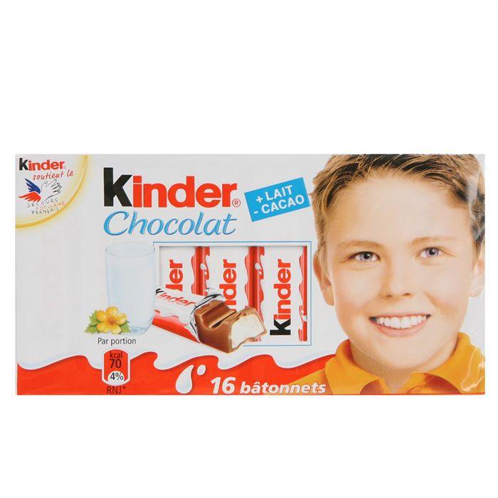 Kinder chocolat bâtonnets de chocolat au lait avec fourrage au lait