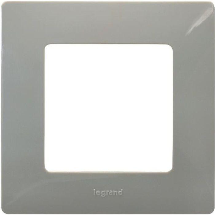 legrand plaque laqu e 1 poste nilo gris finition galet achat vente plaque de finition. Black Bedroom Furniture Sets. Home Design Ideas