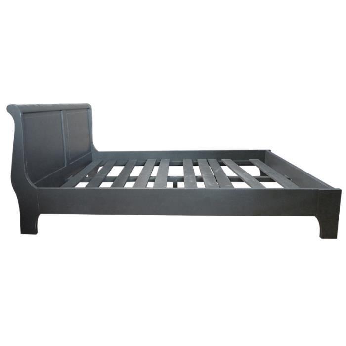 lit louis philippe 160x200 en pin massif gris f achat vente structure de lit cdiscount. Black Bedroom Furniture Sets. Home Design Ideas