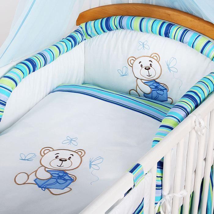 tour de lit housse taie couette oreiller 5 pc bleu