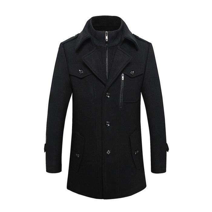 manteau laine homme noir mode revers marque luxe coton. Black Bedroom Furniture Sets. Home Design Ideas