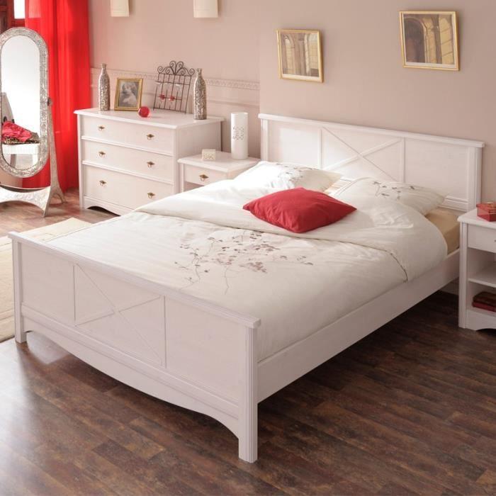 paris prix lit adulte 160x200cm charme blanc achat vente structure de lit cdiscount. Black Bedroom Furniture Sets. Home Design Ideas
