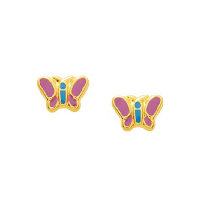 boucles d 39 oreilles enfant papillon en or jaune 375 00 achat vente boucle d 39 oreille boucles d. Black Bedroom Furniture Sets. Home Design Ideas