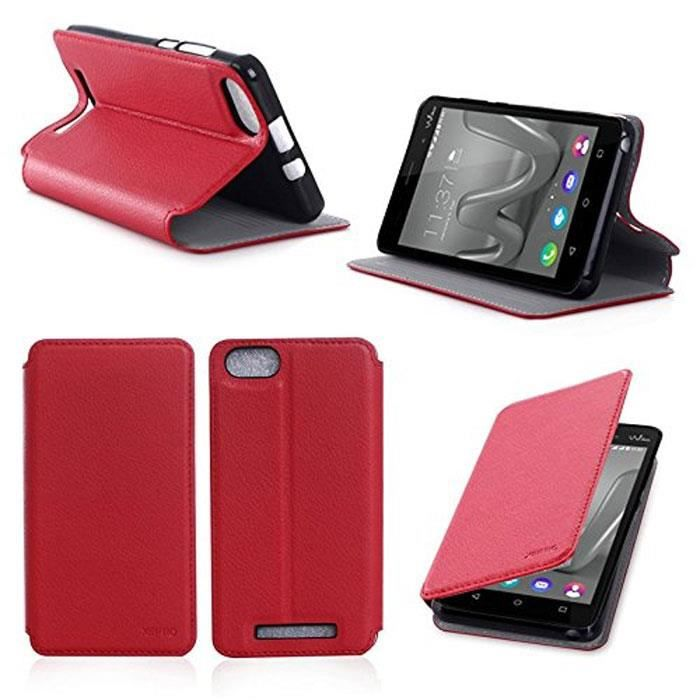 Etui coque wiko lenny 3 rouge housse pochette achat for Housse wiko lenny 4
