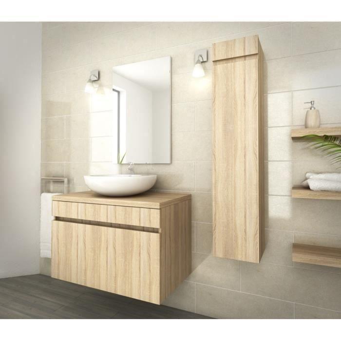 Luna salle de bain compl te simple vasque l 80 cm d cor oak sonoma achat - Prix salle de bain complete ...