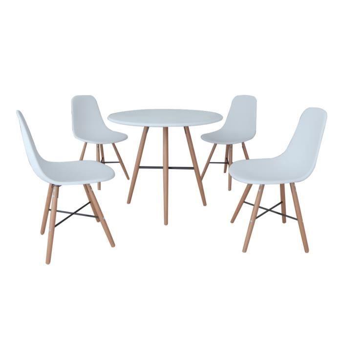 table ronde et 4 chaises sans accoudoirs coloris blanc. Black Bedroom Furniture Sets. Home Design Ideas