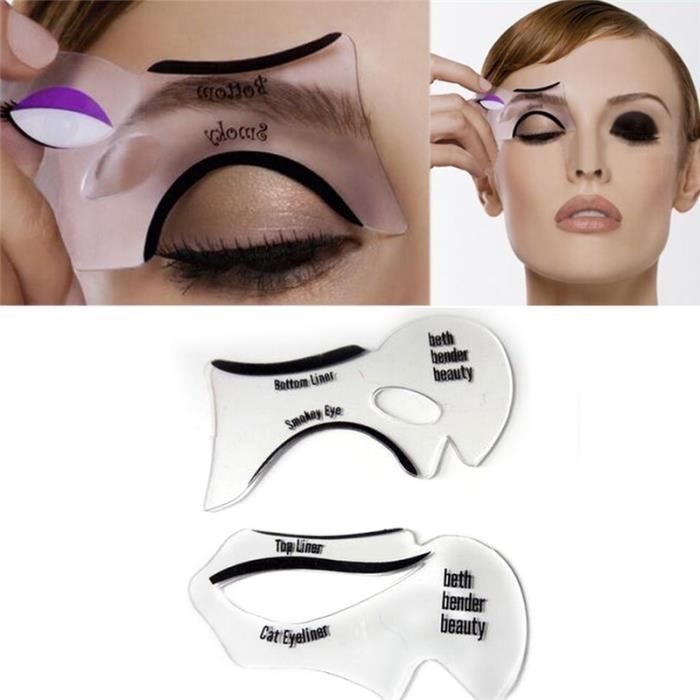 4 pcs cr ation parfait eyeliner stencil sultry smokey yeux maquillage mod les mod le top. Black Bedroom Furniture Sets. Home Design Ideas