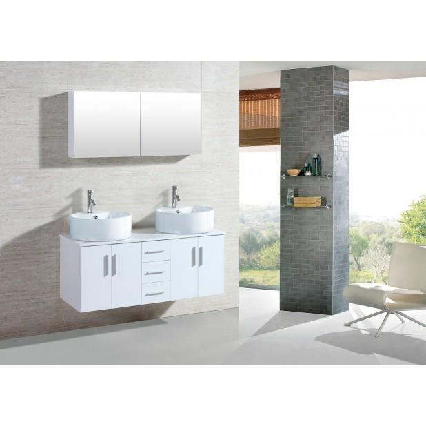 Magnifique meuble salle de bain complet franka blanc ensemble salle de bain - Meuble salle de bain etroit ...