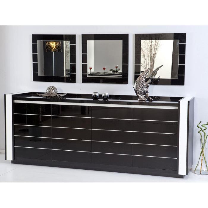 buffet design noir et blanc equinoxe a led achat vente. Black Bedroom Furniture Sets. Home Design Ideas