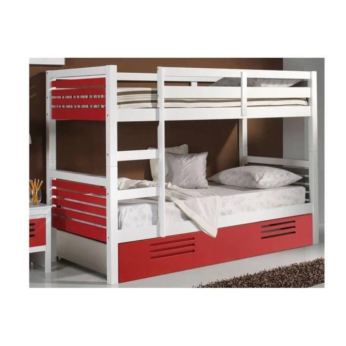 lit superpos marlone avec tiroir laqu blanc e achat vente lits superposes lit superpos. Black Bedroom Furniture Sets. Home Design Ideas